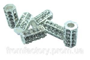Трубочки со стразами 16х20мм:Серебро