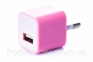 Блок питания 5Вт/1А (USB, разные цвета) 5:Розовый