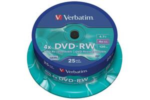 Диск DVD Verbatim 4.7Gb 4x CakeBox 25 шт silver (43639)