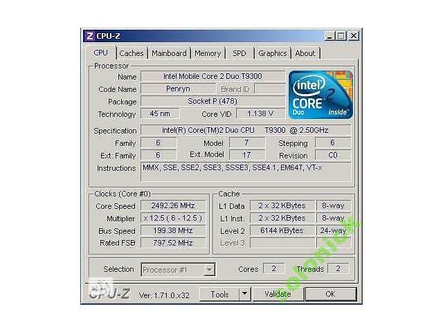 купить бу Intel Core2Duo T9300 2.50GHz 6MB SLAYY Socket P в Киеве