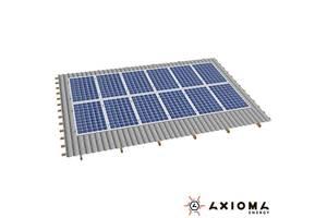 Система креплений на 12 панелей параллельно крыше, алюминий и нержавеющая сталь А2, AXIOMA energy
