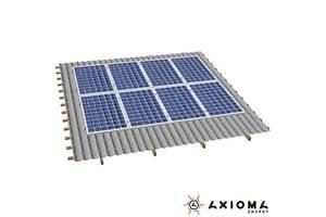 Система креплений на 8 панелей параллельно крыше, алюминий и нержавеющая сталь А2, AXIOMA energy