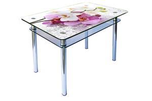 Стеклянные обеденные столы на хромированных ногах