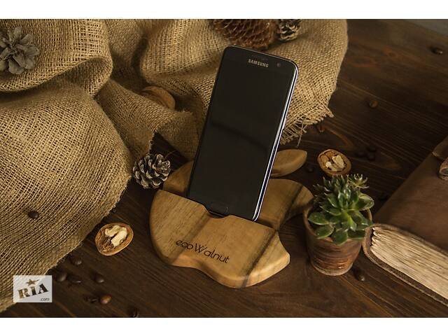 продам Підставка органайзер тримач з дерева для телефонів планшетів гаджетів Яблуко на робочий стіл з гравіюванням логотипом бу в Києві