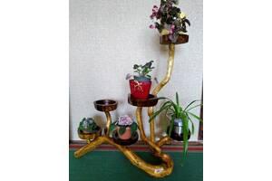 декоративная подставка для цветов из коряги