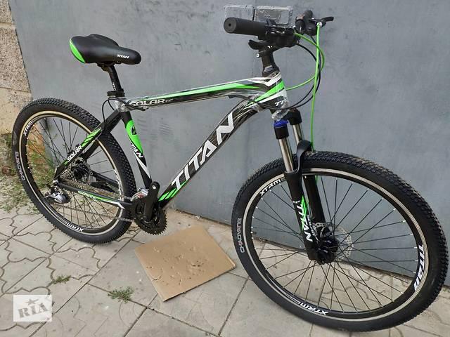 """купить бу Відмінний алюмінієвий гірський швидкісний велосипед 29"""" TITAN SOLAR DD 2019 (Shimano, Lockout, 100 mm, Kenda) в Слов'янську"""