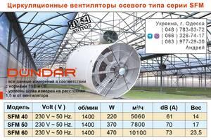 Циркуляційні вентилятори DUNDAR осьового типу серії SFM