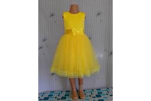 Праздничное детское желтое платье с бантом и кружевом, модель № 47