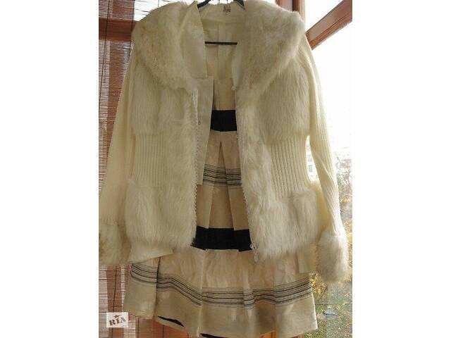 продам юбка белая атласная, цветочный принт в полоску, М р. бу в Запорожье