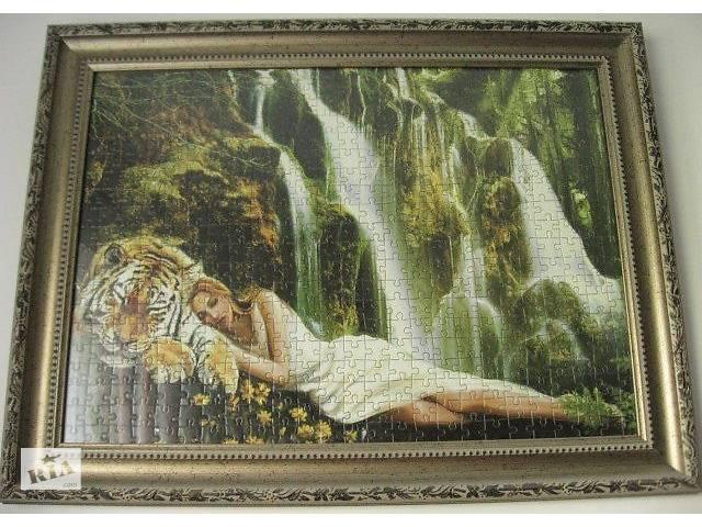 купить бу Пазл 500 девушка, тигр, водопады, рамка 48 на 35 широкая, торг в Запорожье