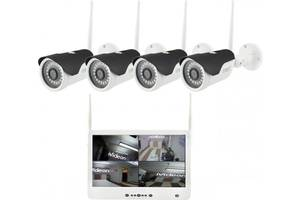 Комплект беспроводного видеонаблюдения CNV 4 Камеры + Регистратор с экраном 13'' DVR KIT LCD 1304 WiFi 4ch