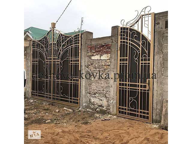бу Кованые ворота с калиткой в Виннице