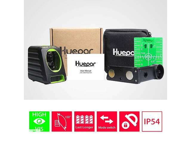 бу Лазерный уровень Huepar BOX-1G нивелир 2 зеленые линии кронштейн + батарейки антибликовое стекло в Луцке