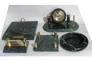 Настольный канцелярский набор 5 предметов Зеленый мрамор