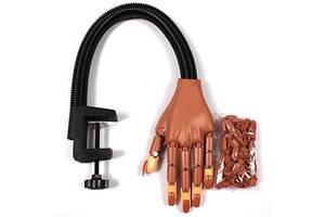 Тренировочная рука для обучения маникюра на штативе Hand Nail Коричневый (110166)
