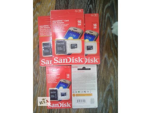 """купить бу Карты памяти Micro SD """"SanDisk"""" 16 gb с переходником SD!!! в Запорожье"""