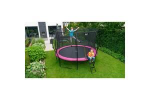 Батут EXIT Silhouette 244 см с внутренней сеткой, розовый, на 400 кг