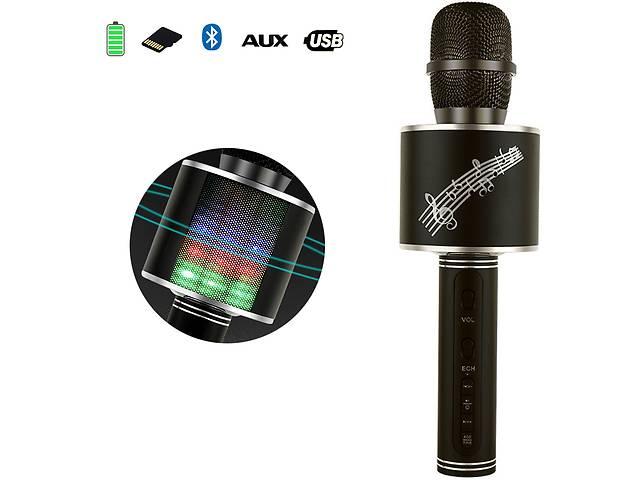 купить бу Беспроводной Bluetooth микрофон с колонкой 2в1 Karaoke YS-66 с функцией ЭХО смены голоса фонограммой и  disco подсвет... в Одессе