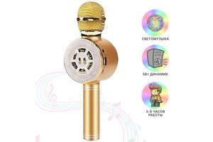 Детский микрофон Wster с функцией караоке USB, microSD, AUX, Bluetooth WS 669 Золотой