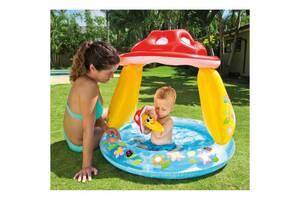 Дитячий надувний басейн Intex 57114 з навісом, грибочок