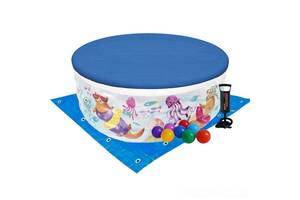Детский надувной бассейн Intex 58480-3 «Аквариум», 152 х 56 см, с шариками 10 шт, тентом, подстилкой, насосом (hub_h4...