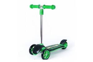 Детский трехколесный самокат ORION с ножным тормозом для детей от 3 лет, до 40 кг,зеленый
