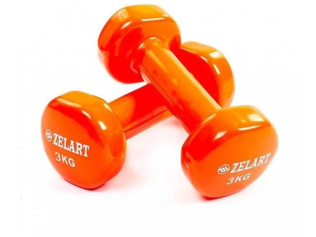 купить бу Гантели для фитнеса с виниловым покрытием Zelart Beauty TA-5225-3 (2x3кг), оранжевый в Львове