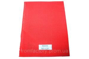 Канва вышивальная (разные цвета, 30х40, каунт 11):Красная