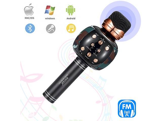 бу Караоке микрофон с колонкой и FM радио беспроводной вокальный портативный Bluetooth Wster Karaoke WS-2911 Камуфляж в Одессе