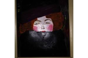 """Картина """"Дама в шляпе и боа из перьев"""".Густав Климт."""