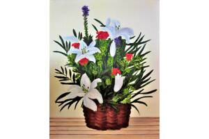 картина маслом корзинка с цветами