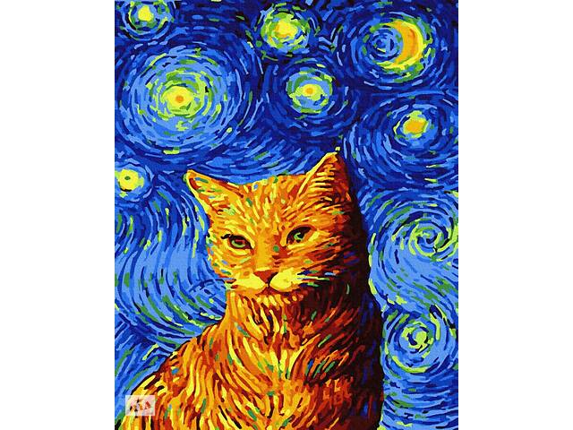 """бу Картина по номерам. Brushme """"Кот в звездную ночь"""" GX35619 в Одессе"""