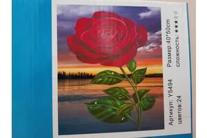 Картини за номерами (Троянда на тлі пейзажу)
