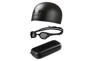 Комплект (очки+шапочка+кейс) для плавания Arena Triple Black Set (002319-555)