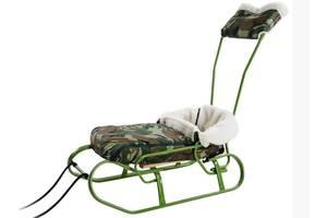 Комплект Vitan санки для мальчика санки + ручка + спинка + меховой чехол Зеленый