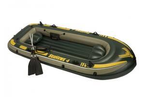 """Лодка надувная четырехместная с веслами и насосом Intex 68351 """"Seahawk"""", до 400 кг Код товара: 68351"""