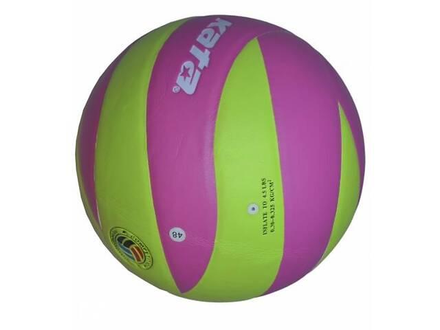 купить бу Мяч волейбольный Kata НК-12 клееный Салатово-розовый (spr_10066) в Киеве