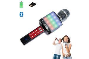 Микрофон-караоке беспроводной WSTER WS-1828 White с функцией изменением голоса Черный с серебристым