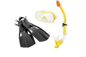 Набор 3в1 для плавания Intex Wave Rider Swim Set ласты-размер M(24-26см), трубка, маска, желтый