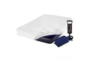 Надувной матрас Полуторный Intex 64758-3, 137 x 191 x 25 см, с наматрасником-чехлом, двумя подушками и ручным насосом