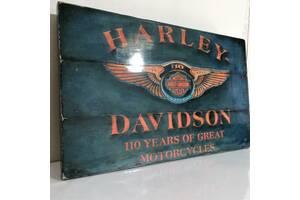 Подарок для мужчины Harley-Davidson картина лофт ключница вешалка Харли Дэвидсон ручная работа