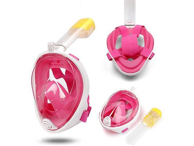 Полнолицевая панорамная маска для снорклинга  FREE BREATH(L -XL)с креплением для камеры Pink