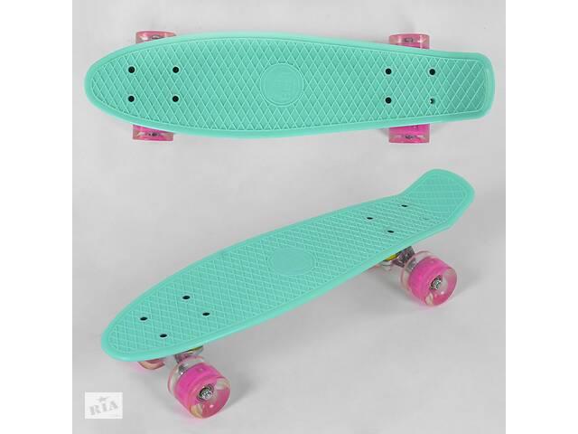 Скейт Пенни борд Best Board 6060 лонгборд доска 55 см светящиеся полиуретановые колеса, бирюзовый- объявление о продаже  в Львове