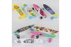 Скейт Пенни борд Best Board, колёса PU, светятся, диаметр 45 см, доска 55 см, 8 видов SKL11-228382