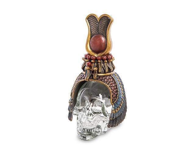 купить бу Статуэтка флакон Veronese Египетский головной убор на стеклянном черепе 17 см 1906353 в Львове