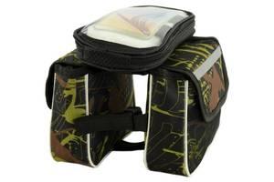Сумка-велобагажник Traum 7019-25 из полиэстера, черная с салатовым
