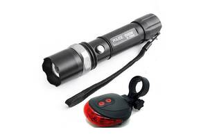 Велофонарик + задний фонарь-лазерная дорожка велосипедный набор фонарей Kronos POLICE BL-8626 (gr_007080)