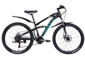 """Велосипед двухподвесной 24"""" Formula Blaze DD 2020 рама 14"""" черно-бирюзовый"""