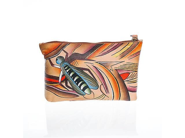 продам Клатч-косметичка кожаный с ручной росписью и оригинальным рисунком бу в Киеве