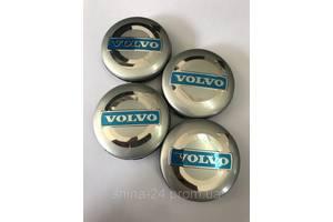 Колпачки заглушки в литые диски Volvo 64/61/10 мм. Серебро/Хром